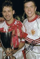 Signed Lee Sharpe Bryan Robson Manchester United Photo