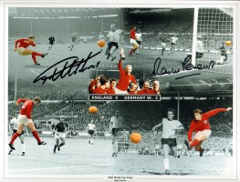 Signed Geoff Hurst & Martin Peters England 1966 Montage