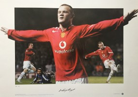 Signed Wayne Rooney Manchester United Debut Print