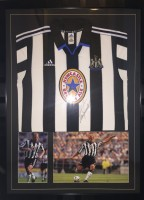Signed and framed Alan Shearer Newcastle shirt