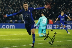 Signed Jamie Vardy Leicester City Photo