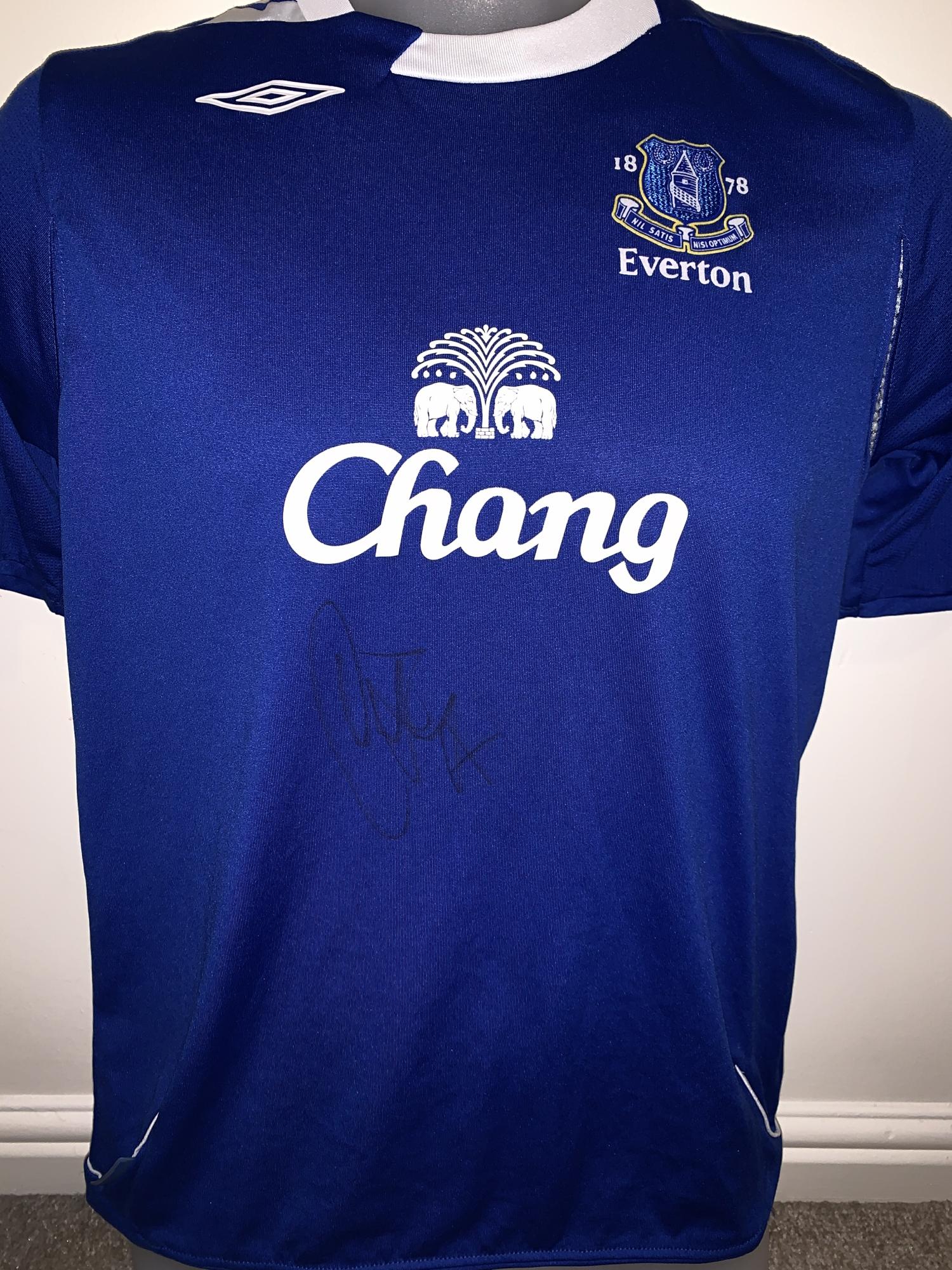 new style 9045a 0244d Signed Duncan Ferguson Everton Home Shirt