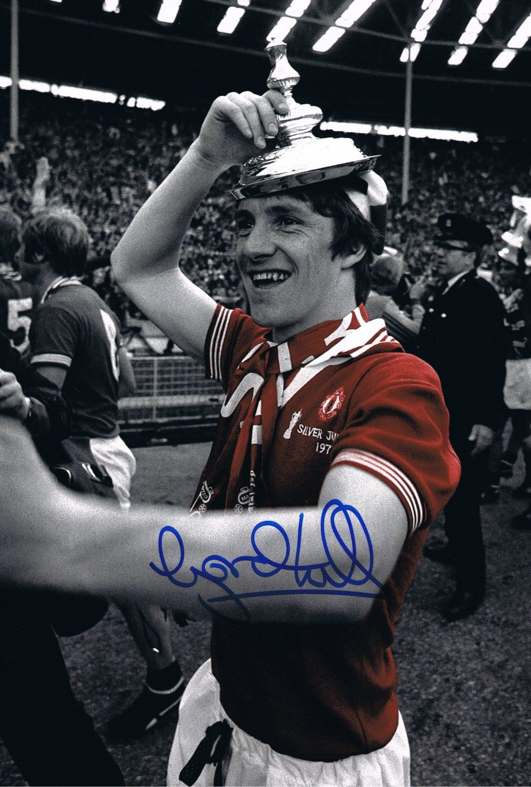 Signed Gordon Hill Manchester United 1977 Cup Final Photo